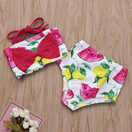 Maillot de bain cocotier en Ligne-Maillot de bain deux pièces fille fille pastèque citron noix de coco imprimé maillots de bain bébé fille été Halter Big Bow Beach Bikini Set