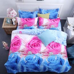 Azul y rosa Rosa ropa de cama conjunto 3D pintura al óleo cama en una bolsa 4 unids tamaño Queen hoja de cama plana edredón bolsa edredón cubierta desde fabricantes