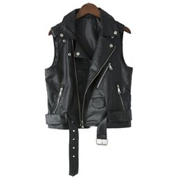 Neuheit lederjacken online-New Steam Punk Black Faux Leather Vest Women Motorcycle Jacket Autumn Waistcoat Vest Zippers Slim Tops Novelty Lady Super Cool