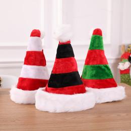 Borsa beanie online-3styles Natale a righe cappello di natale decorazioni rosse Babbo Natale Bag posate Bag decorazione del partito di Natale ornamenti cappello della peluche scherza il regalo FFA2848-1