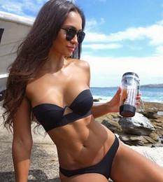Stahl-bikini-stil online-Neuer Stil Badeanzug 2019 Europäische und amerikanische reine Farbe Bikini Stahlhalterung hart gewickelt Brust abwischen Lady Badeanzug Sexy flexible Stylis