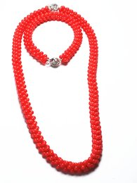 Braccialetto d'argento rosso corallo online-Natural 3mm Red Coral Hand Knit Necklace Bracelet 925 Silver Buckle Gemstone Women Jewelry Set