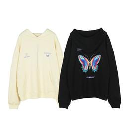 cappuccio farfalla Sconti Manica lunga con cappuccio delle donne degli uomini 19FW farfalla Hoodie del panno morbido colore solido di modo cappuccio asiatico formato S-XL