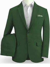 изумрудное освещение Скидка Emerald Green Linen Suits Men Light Weight Beach Wedding Suits For Men Custom Made Summer Linen Suit Tailored Groom Suit 2019