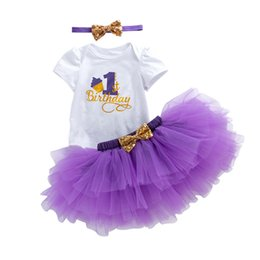 2f24865d2 summer Cake 1st birthday outfits little girls clothing sets baby girls  sequin bows headbands letter rompers tulle tutus skirts purple 3pcs