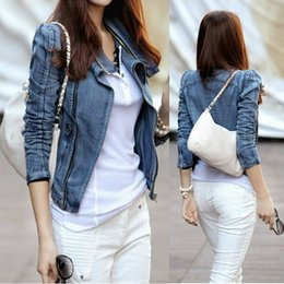 Jaquetas curtas de jean azul on-line-Mulheres Jean Zipper Jacket Motocicleta Denim Jaqueta Curta Outwear Azul Curto