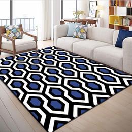 tappeti intrecciati all'ingrosso Sconti Tappeti moderni motivi geometrici blu Tappeti per soggiorno Camera da letto Area tappeto Divano Tavolino Home Decor Tappetini antiscivolo