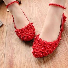 Canada Talon plat en dentelle rouge fleurs perles mariage mariée appartements chaussures femme luxe super beautful design rouge dentelle parti appartements Offre