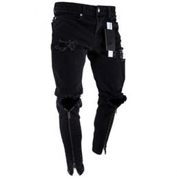 Argentina Pantalones de cremallera para hombre Pantalones vaqueros de diseñador Pantalones de lápiz ajustados y ajustados en negro rasgados supplier hole jeans Suministro