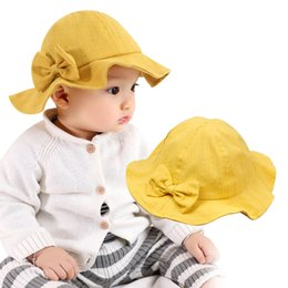 d4597d06bff 2019 New Baby Girls Hat Cute Bow Pricess Baby Hat For Girls Wide Brim Sun  Cap Spring Summer Bucket Clothing