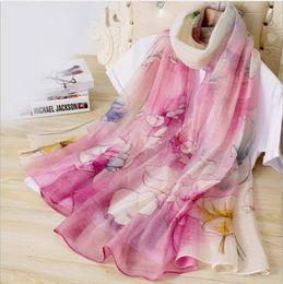 Foulards imprimés en soie chinoise femmes en Ligne-Foulard en soie de style national chinois pour femme Foulard en laine et soie multicolores polyvalent version coréenne pour femmes