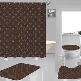 Padrões de cobertura do assento on-line-Padrões geométricos de luxo sob medida Impressão Shower Curtain Covers Multi-função Waterproof Cortina High End assento do toalete Set 3piece