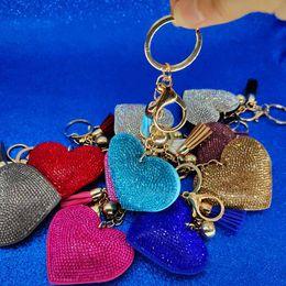 2019 borse di pelle animale in pelle Portachiavi cuore di cristallo d'oro nappa fascino moschettone portachiavi portachiavi titolare borsa appende moda portachiavi gioielli vendita calda Will e Sandy