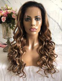 rendas frente extra longo Desconto Two Tone Ombre Destaque rendas frente Wigs solto Aceno 10A da Malásia Virgem Remy cabelo humano perucas completas do laço de Black Woman frete grátis