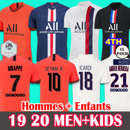 2020 font camisa de futebol 19 20 Soccer Jersey PSG Paris Saint-Germain Camisa de Futebol 2019 2020 Paris Mbappé ICARDI MARQUINHOS Jersey Camisetas camisa das mulheres sets MEN KIDS font camisa de futebol barato