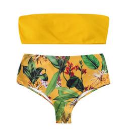 Bikini de dos piezas push up padding online-SAGACE Traje de baño para mujer Conjunto de bikini Estampado push-up Traje de baño acolchado Mujer Dos piezas Ropa de playa Traje de baño brasileño Amarillo