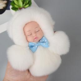 niedliche mini-puppen anhänger Rabatt Mini Cute Sleeping Baby Doll Schlüsselbund Pompon Rex Kaninchenfell Ball Schlüsselanhänger Auto Schlüsselring Frauen Schlüsselhalter Tasche Anhänger Charme Zubehör