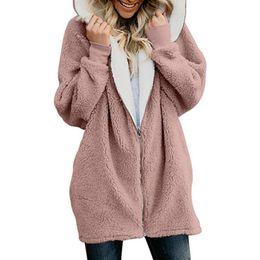 Más el tamaño de las mujeres con capucha de piel online-Chaqueta de las mujeres Abrigo de invierno Mujeres Cardigan Ladies Warm Jumper Fleece Faux Fur Coat Hoodie Outwear manteau Femme Plus Tamaño 4XL