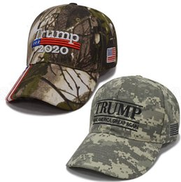 2021 бейсбол шляпа л  Embroidery Trump Hats 2020 Make America Great Again Donald Trump Baseball Caps Camo Adults Outdoor Sports Hat 200pcs L-OA6706 дешево бейсбол шляпа л