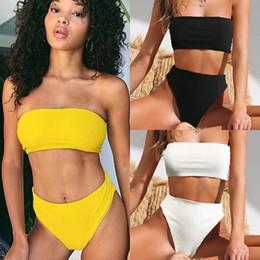 artigos femininos Desconto Bikinis Feminino 2019 Swimsuit Biquíni Mulheres Swimwear Para Separar Push Up Artigo Pit Sem Alças de Cintura Alta Preto Branco Puro Sexy