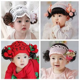 meninas carmesim vestidos Desconto Cute children's small curl wig hair band children's dress hair band small bow tiara net set baby headbands for girls