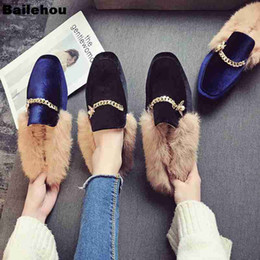 Size 35 To 43 Women Fur Slippers Winter Mules Plush Metal Chain Women  Slippers Slip On Loafers Flat Casual Shoes Brand Fur Slide 751387a806ea