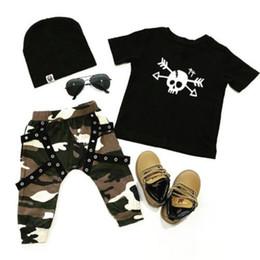 Maglietta del cranio dei ragazzi neri online-Pudcoco Black Tops Camo Pantaloni Cute Kids Baby Boy Skull T-Shirt Top Camo Pants Leggings 2 pezzi Abiti Abiti