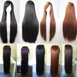 2019 longo, reto, cabelo, lado, despedida Máscaras do partido Womens longa reta Natural completa Perucas Side-se separaram peruca preta NOVO