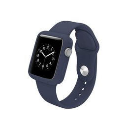 Argentina Banda de silicona monocromática + estuche para Apple reloj inteligente 38mm 42mm series1 / 2/3 generación general cheap apple watch band case Suministro