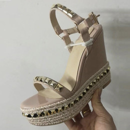 Frauen Designer Wedge Plattform Sandale Red Bottom Schuhe geflochtene Spikes Schuhe Leder High Heel Sommer Sandalen