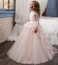 vestido de baile sem alças vestido halter Desconto Little Girl's Pageant Vestidos Jewel Neck manga comprida Lace vestido de baile crianças vestido de casamento de tule flor meninas vestido primeiro vestido de comunhão Vestidos