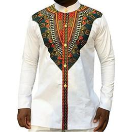 ropa de impresión tribal Rebajas Tribal Estampado étnico Africano Dashiki Camisas de vestir Hombres Estilo de África Ropa Retro Camisa de manga larga Diseño Tops