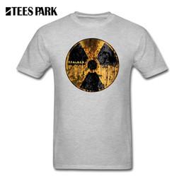 Anti-strahlung kleidung online-Grau T-shirt Männer Stalker Strahlungssymbol T-shirts Teenager O Hals Kurzarm Kleidung Heißer Verkauf Erwachsene Baumwolle T-shirts
