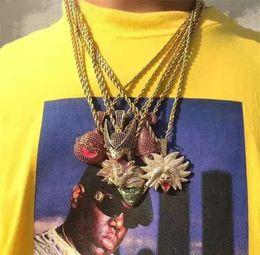 Collar de bolas de oro y plata online-Hip hop Dragon Ball Collar Colgante Iced Out Full Zircon Oro Plata Color Plateado Hombres Regalo de La Joyería de Fiesta de Halloween