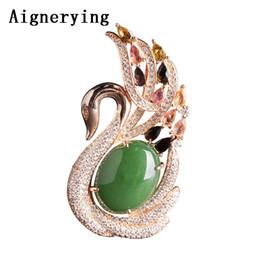 Jade aumentou colares on-line-18k Vintage Rose Gold Verde Certificado embutidos Natural Jade Pendant colares para Mulheres Colar Gift Box Bijou