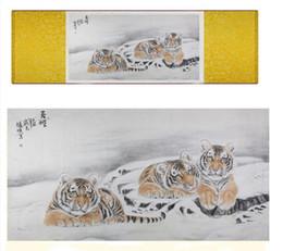 chinesische tigerkunst Rabatt Tiger Silk Art Painting Chinesische Kunst Malerei Home Office Dekoration Chinesische Tiger Painting1906141624