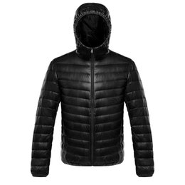 Giacche satinate online-Dell'anatra giù rivestimento di inverno morbido raso MenWomen Warm Coat Jacket Hoded leggera Solid Grey Outwear Large Size 3XL 4XL