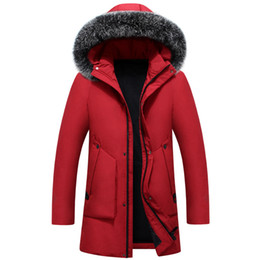 snow parkas Promo Codes - Down Parka Mens Winter Coats Long Down Jacket Fox Fur Hood Slim Fit Thicken Warm Outerwear Snow Overcoat Korean Tops 2018