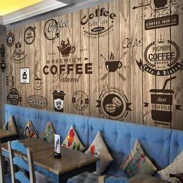2019 fond d'écran nostalgique Personnalisé Toute Taille 3D Papier Peint Mural Rétro Nostalgique En Bois Grain Café Peintures Murales Salon Papier Peint Papel De Parede 3D fond d'écran nostalgique pas cher