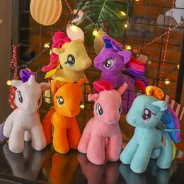 figurine a cavallo Sconti 28 cm Lovely Little Horse Ripiene Doll Peluche 11 pollici Pony Rainbow Figurine Decorazione Per ornamenti per feste Regalo per bambini Giocattolo Regali novità
