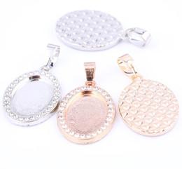 Ovale pendelleuchten online-kristall strass cabochon basis einstellungen 13x18mm blank oval anhänger basis tabletts diy halskette anhänger machen lünetten