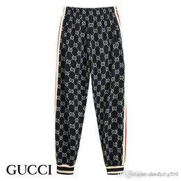 trajes de pieza de solapa delgada Rebajas Gucci   par de pantalones deportivos cremallera damas traje de lujo deportivos pantalones S-2XL de la chaqueta de deportes del juego de béisbol de los hombres de la moda