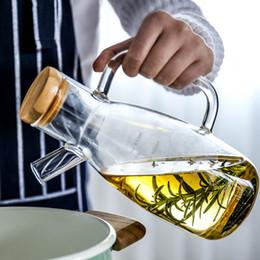 Бутылки с маслом для уксуса онлайн-Прозрачное высокое боросиликатное стекло термостойкие стеклянные масляные горшки кухонные принадлежности приправы бутылки соевый соус уксус бутылки