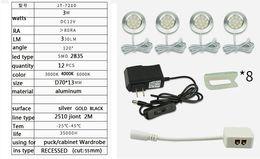 4-8pcs / kits Recesso mancha tipo DC12v 3W 12pcs 2835 LED Puck / sob a luz do armário, Refletor LED com adaptador e conector cheap 12v connector types de Fornecedores de tipos de conectores 12v
