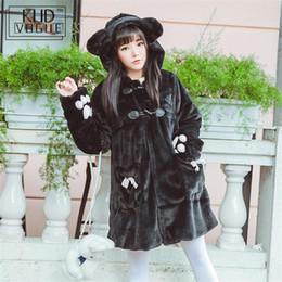 Cappotti bianchi di lolita online-Giacca in stile japenese Kawaii Simpatico gatto Autunno Inverno Calda spessa Plus Giacca in velluto con bottoni ad artiglio Lolita Cappotto con cappuccio bianco nero