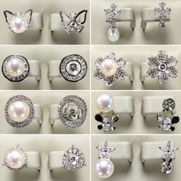 8 Çift / grup 2019 Inci Saplama Küpe 925 Gümüş Küpe DIY İnci Küpe Kadınlar için Çiçek Zirkon Küpe Kız Hediye cheap silver flower pearl earrings nereden gümüş çiçek inci küpeleri tedarikçiler