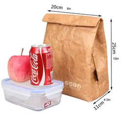 Sacchetto di carta regalo di vacanza online-Lunch Bag Box Cooler Bag Isolato Retro Style Box Holiday Gift Set Riutilizzabile Paper Leakproof Handle Bag Go Work Picnic Shool (Marrone)