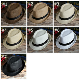 Sombreros de paja para hombre sol online-Fashion Panama Straw Hat Womens Mens Unisex Cap Summer Beach Sun Hat Visor Soft Stingy Brim Hats 7 Colors HHA1173