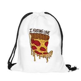 lindas mochilas blancas Rebajas 39x30 cm Divertido Harajuku Cute Cloth Bolsas de lazo Lienzo Kawaii Bolsas de almacenamiento Mochila 3d Imprimir Bolsa de Regalo Para Mujer Blanco Color Pizza