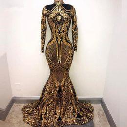 2019 um vestido de ombro oscars Modest ouro alta Neck Mermaid Vestidos mangas compridas Appliqued Velvet Trem da varredura Custom Made formal do partido Prom vestido de baile Plus Size